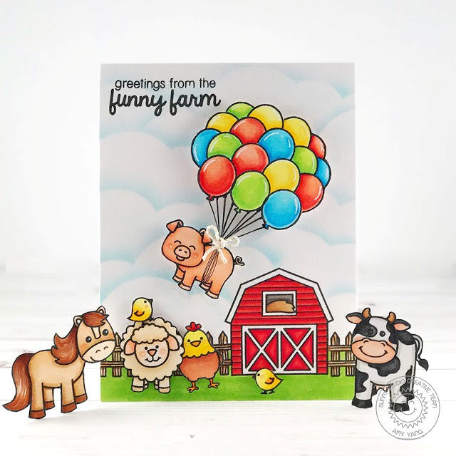 Sunny Studio Stamps Barnyard Buddies Farm Animals Flying Pig Birthday Card