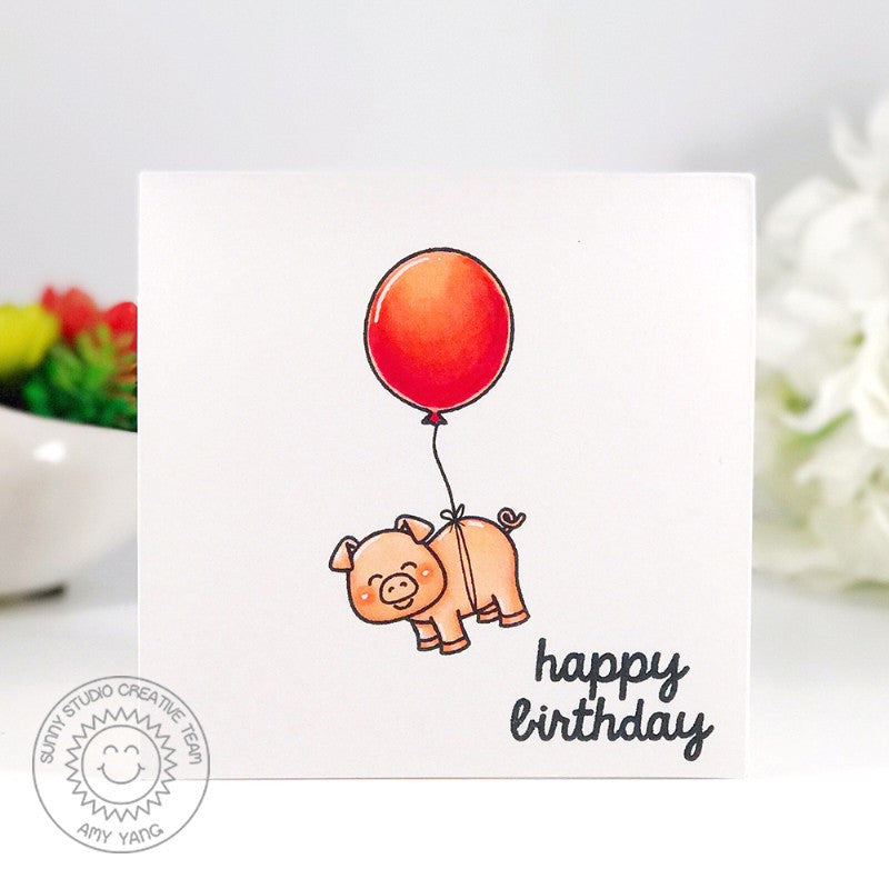 Sunny Studio Stamps Barnyard Buddies Floating Birthday Pig with Balloon Card