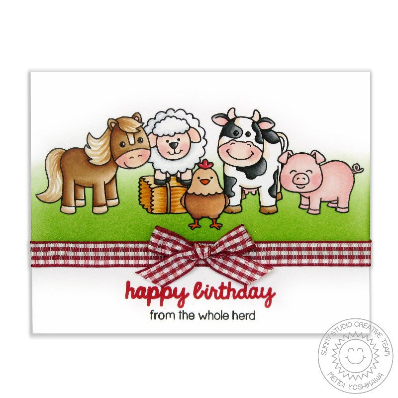Sunny Studio Stamps Barnyard Buddies Birthday Card From The Whole Herd