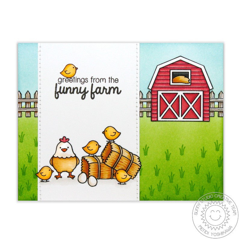 Sunny Studio Stamps: Barnyard Buddies Chickens on the Funny Farm Card