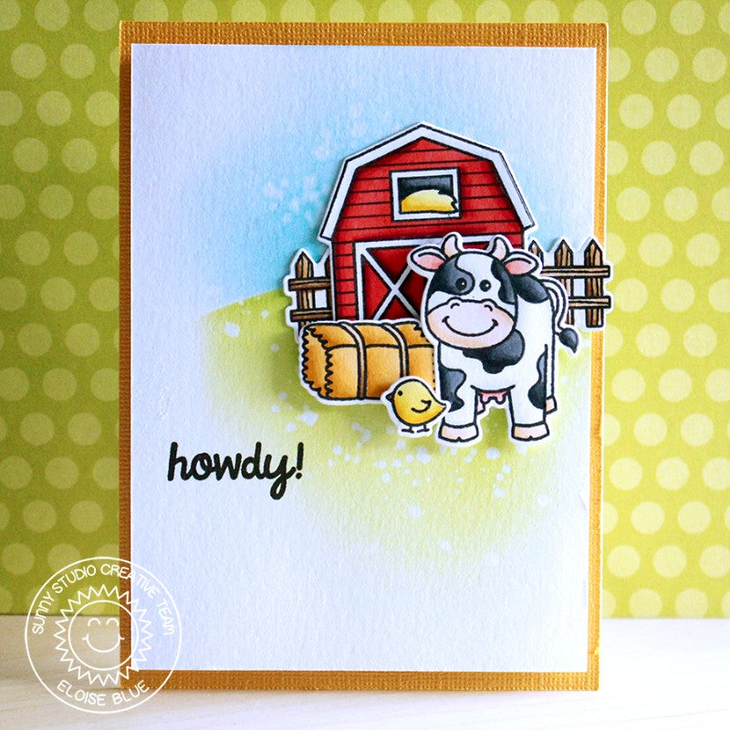 Sunny Studio Stamps Barnyard Buddies Howdy Cow with Red Barn Card