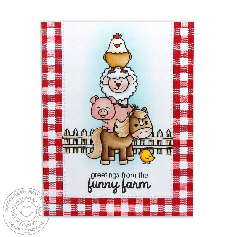 Sunny Studio Stamps Barnyard Buddies Stack of Farm Animals Card