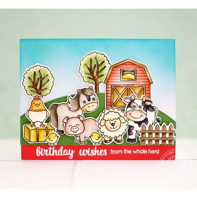 Sunny Studio Stamps Barnyard Buddies Farm Herd of Animals Card