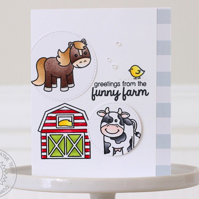 Sunny Studio Stamps Barnyard Buddies Greetings from the Funny Farm Circle window card