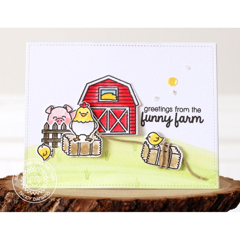 Sunny Studio Stamps Barnyard Buddies Pig & Chicken with Red Barn Card