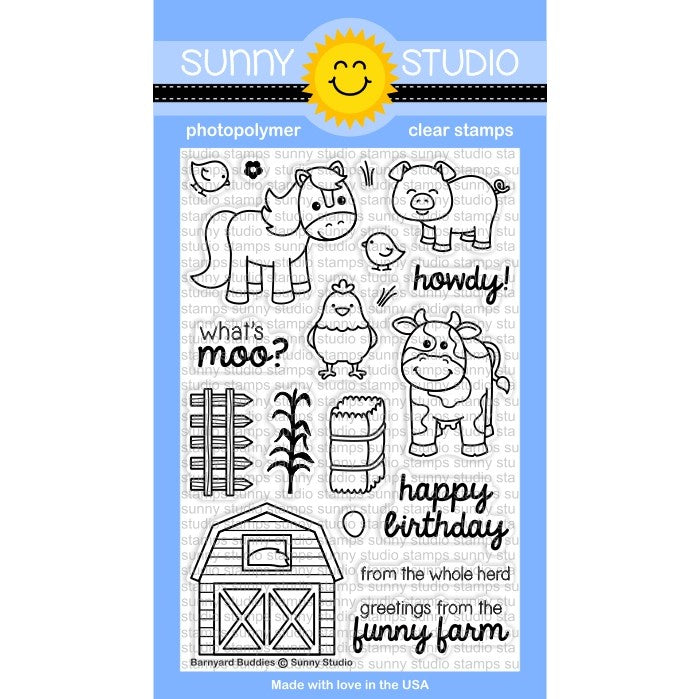 Sunny Studio Stamps Barnyard Buddies Farm Animals 4x6 Photopolymer Clear Stamp Set
