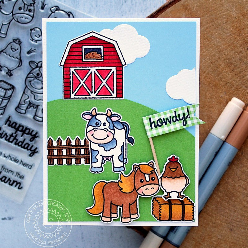 Sunny Studio Stamps Barnyard Buddies Horse & Cow Farm Scene Card