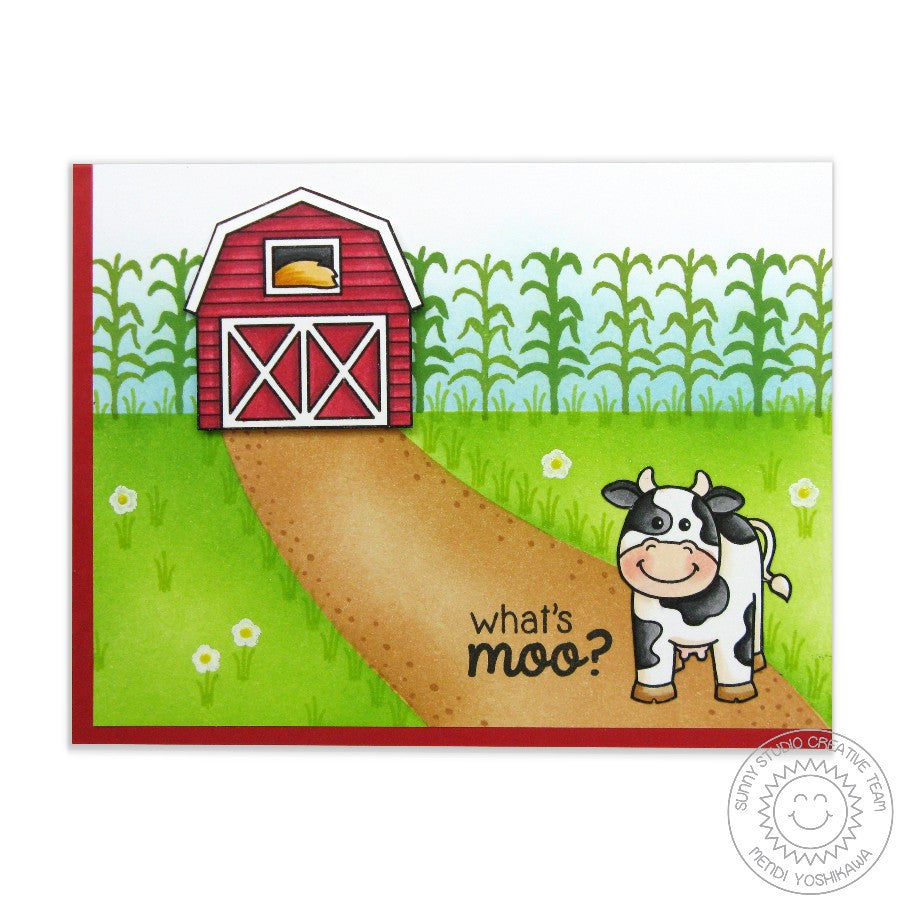 Sunny Studio Stamps Barnyard Buddies What's Moo? Cow Card