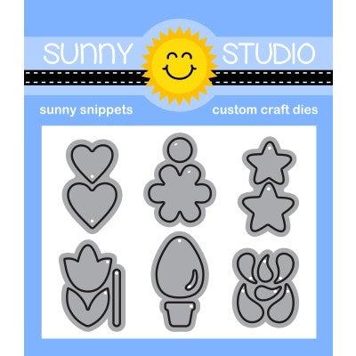 Sunny Studio Stamps Basic Mini Shape 3 Metal Cutting Dies Website Exclusive, including hearts, stars, posy flower, tulip, Christmas light bulb and water splash drip