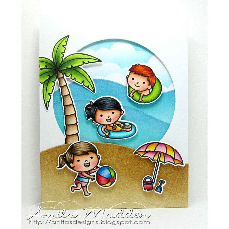 Sunny Studio Stamps Beach Babies Waves Window Card by Anita