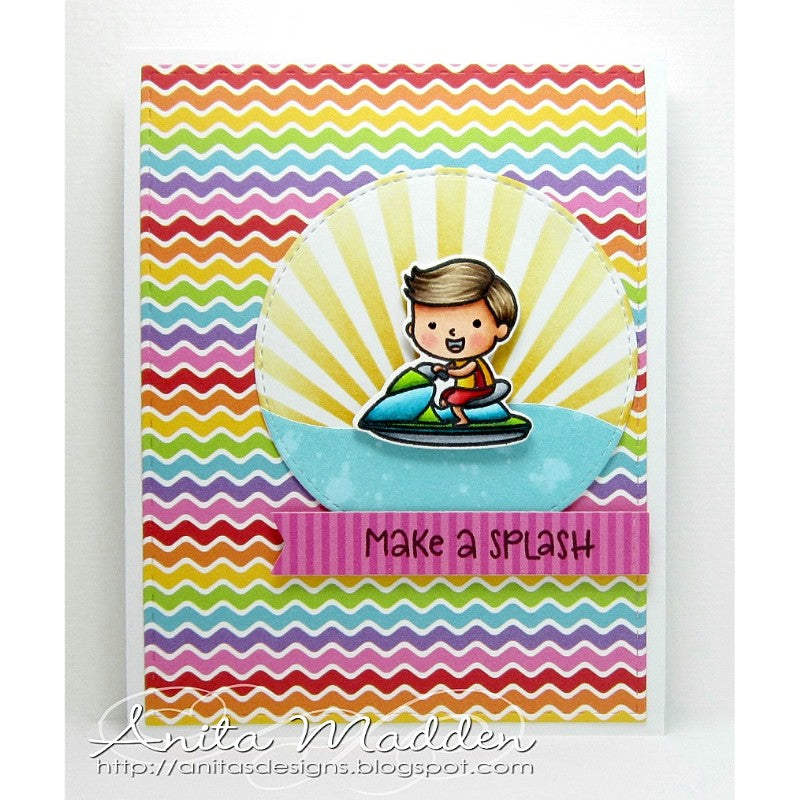 Sunny Studio Stamps Rainbow Bright Striped Beach Babies Card