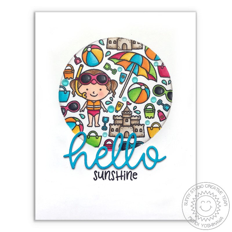 Sunny Studio Stamps Beach Baby Hello Sunshine Sandcastle Summer Card