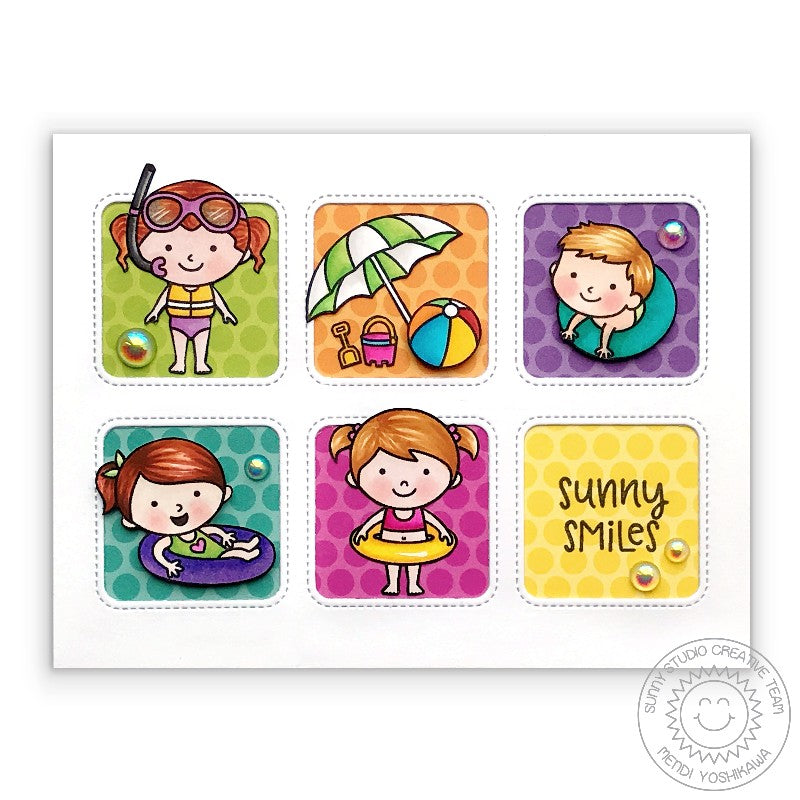 Sunny Studio Stamps Colorful Beach Babies Card using Window Trio Square Dies