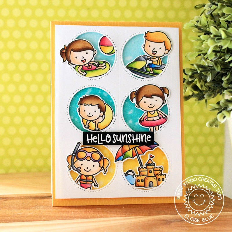 Sunny Studio Stamps Beach Babies Summer Grid Style Card by Eloise Blue