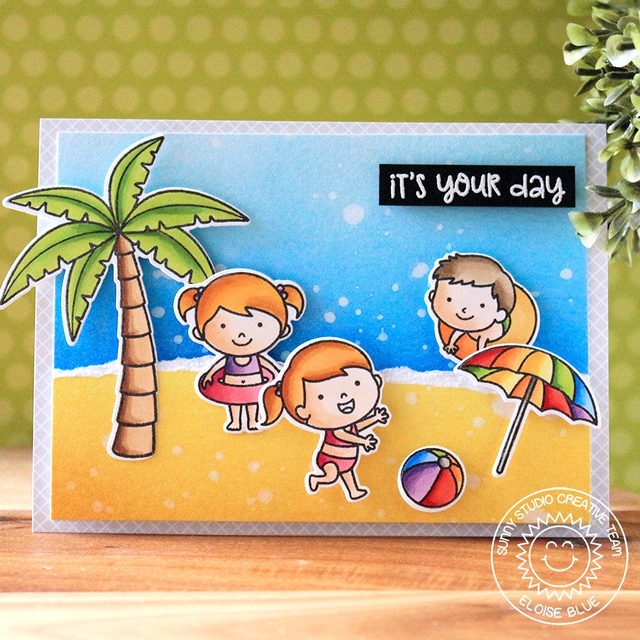 Sunny Studio Stamps Beach Babies Summer Swim Scene Card by Eloise