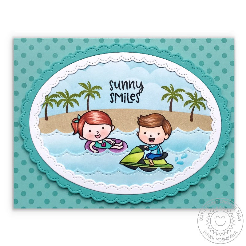 Sunny Studio Sunny Smiles Beach themed Summer Card featuring Fancy Frames Stitched Scallop Oval Dies