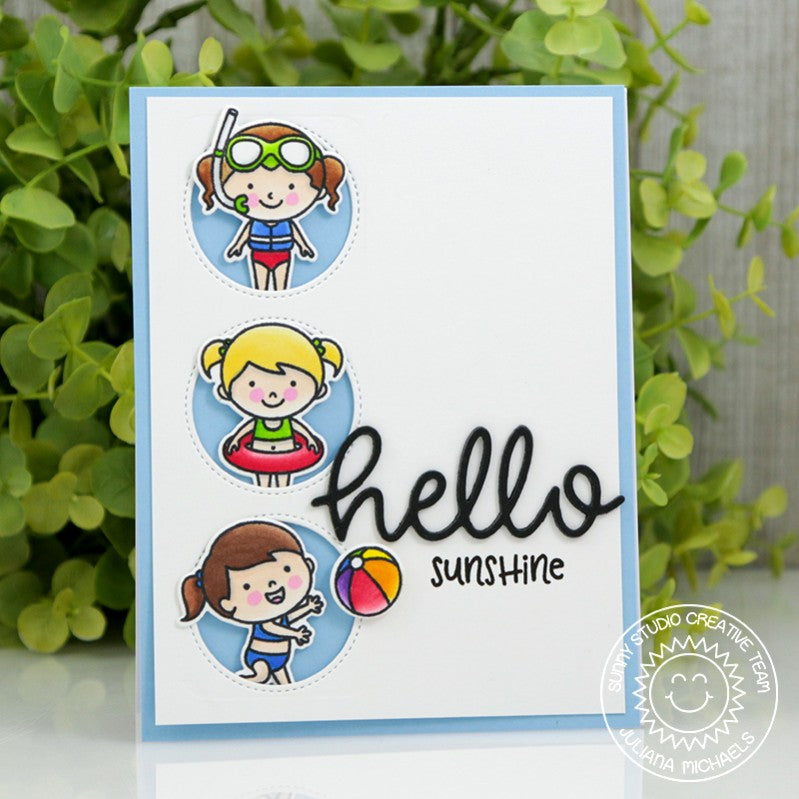 Sunny Studio Stamps Beach Babies Summer Card by Juliana Michaels (using Window Trio Circle Dies)