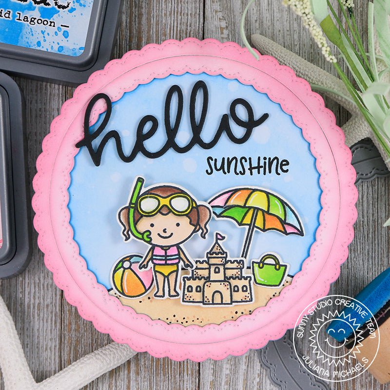 Sunny Studio Stamps Summer Sunshine Card featuring hello scripty word die
