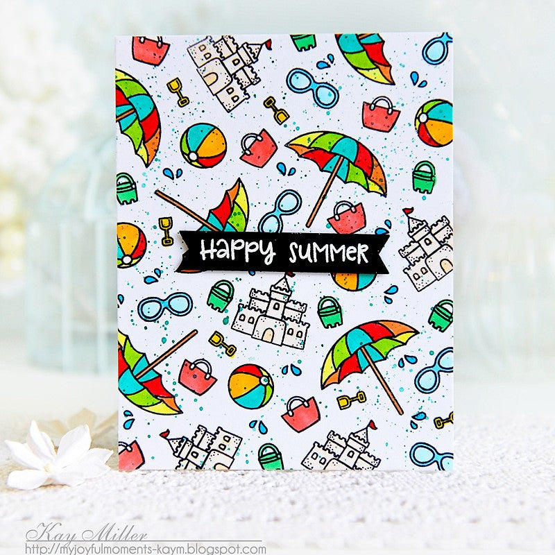 Sunny Studio Stamps Beach Umbrellas & Sandcastles Happy Summer Card