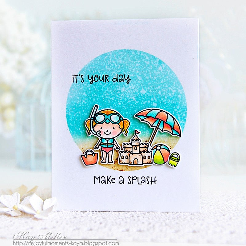 Sunny Studio Stamps Make A Splash Beach Babies Card with a scene within a circle frame