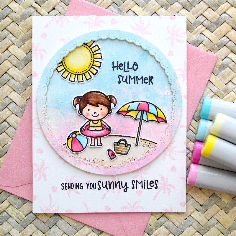 Sunny Studio Stamps Beach Babies Card featuring the Fancy Frames stitched scallop circle dies