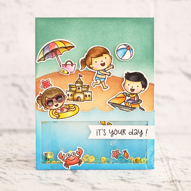 Sunny Studio Stamps Beach Babies Summer Sequin Shaker Card