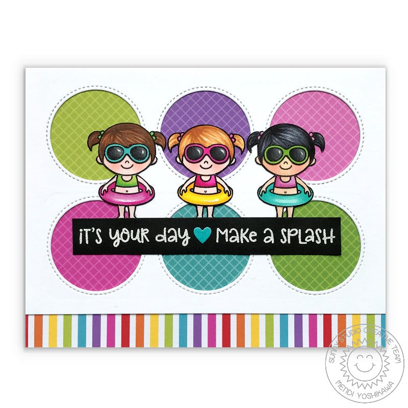 Sunny Studio Stamps Girly Summer Birthday Card using Window Trio Circle Dies