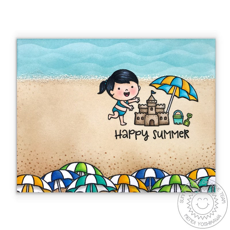 Sunny Studio Stamps Beach Baby Ocean Waves & Beach Umbrella Card with Sand Castle
