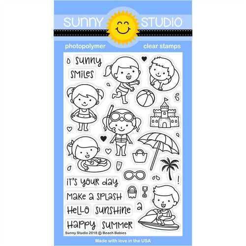 Sunny Studio Stamps Beach Babies 4x6 Clear Photopolymer Stamp Set
