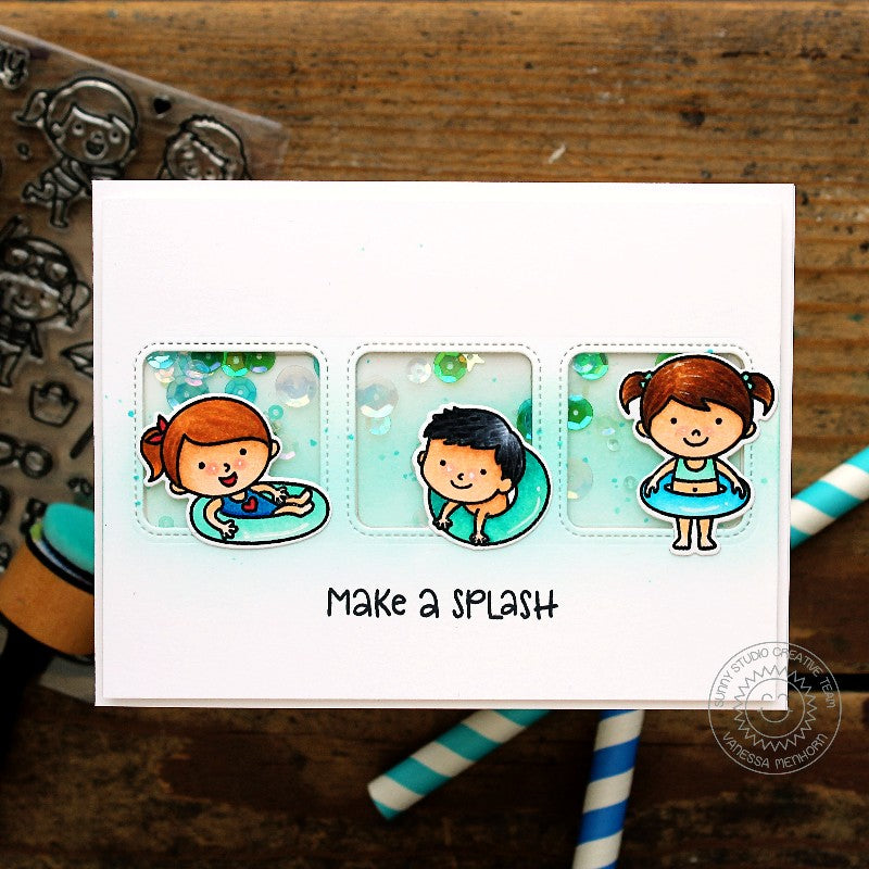 Sunny Studio Stamps Make A Splash Sequin Shaker Card (using Beach Babies Stamps & Window Trio Square dies)