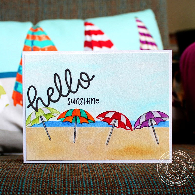Sunny Studio Stamps Beach Babies Hello Sunshine Umbrella Card