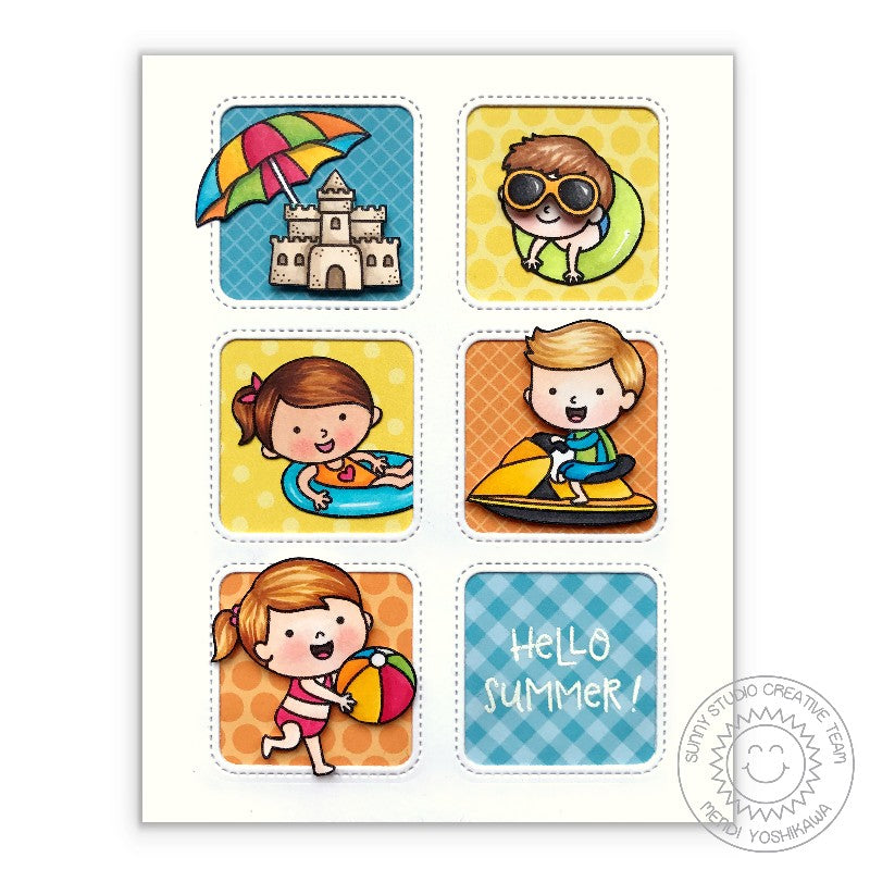 Sunny Studio Stamps: Kid's Beach Party Summer Grid Style Card (featuring Window Trio Square Dies)