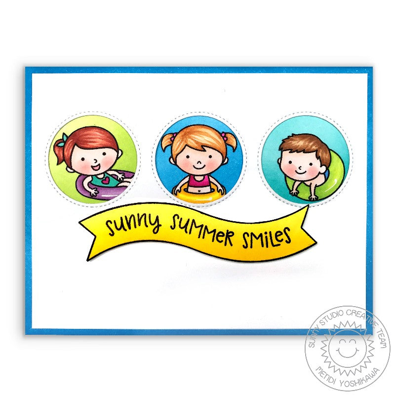 Sunny Studio Stamps Beach Babies Summer Smiles Floatie Card using Window Trio Circle Dies