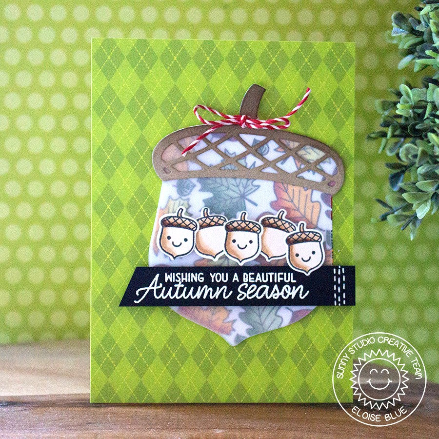 Sunny Studio Stamps Amazing Argyle Green Acorn Autumn Card by Eloise