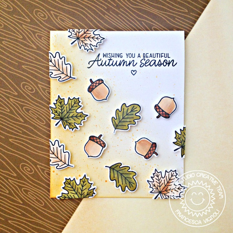 Sunny Studio Stamps Beautiful Autumn Watercolored Fall Leaves Card by Franci