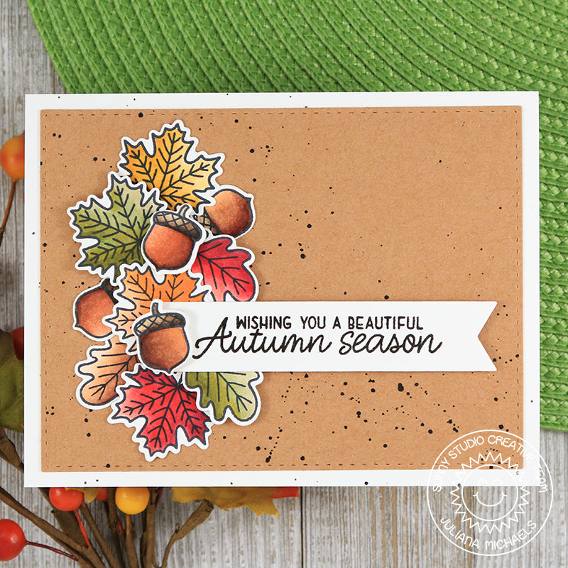 Sunny Studio Stamps Beautiful Autumn Fall Leaves Swag Card by Juliana
