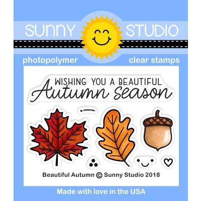 Sunny Studio Stamps Beautiful Autumn Fall Leaves & Acorn 2x3 Photopolymer Stamp Set
