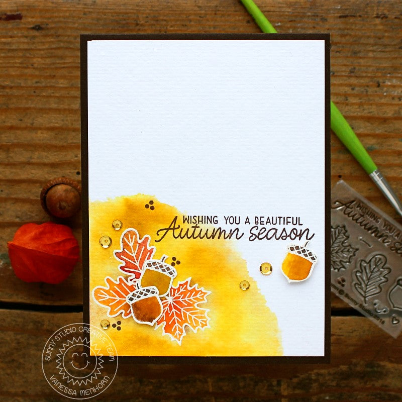 Sunny Studio Stamps Beautiful Autumn Watercolor Fall Card by Vanessa Menhorn