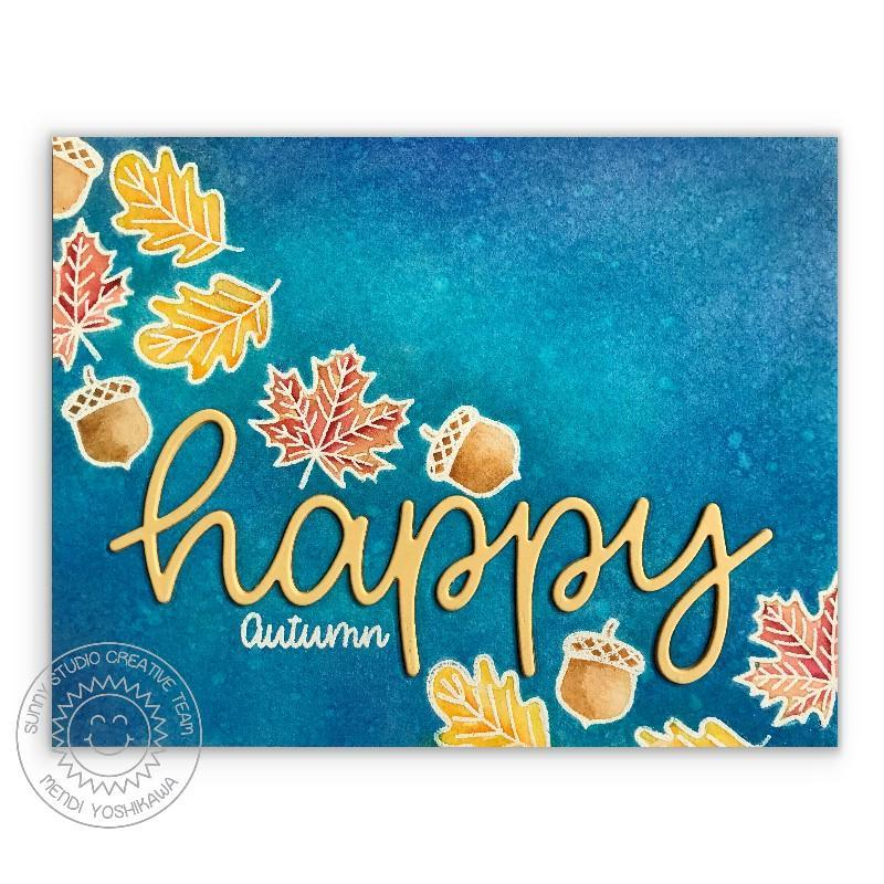 Sunny Studio Stamps Happy Autumn Fall Leaves Watercolor Card using Scripty Happy Word Die