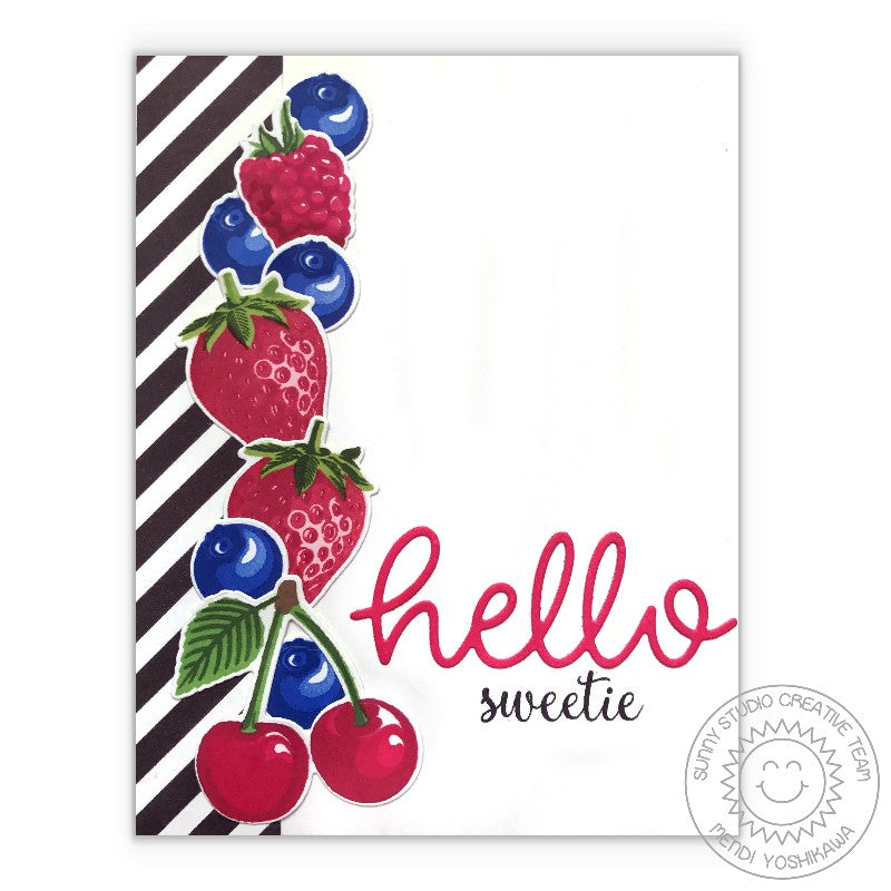 Sunny Studio Stamps Berry Bliss Hello Sweetie Strawberry, Blueberry & Cherry Card using color layering stamps