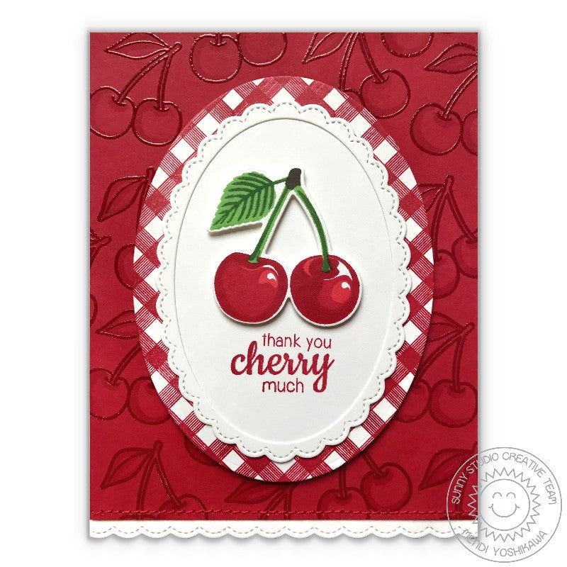 Sunny Studio Red Gingham Cherry Card using Background Basics Border Stamps