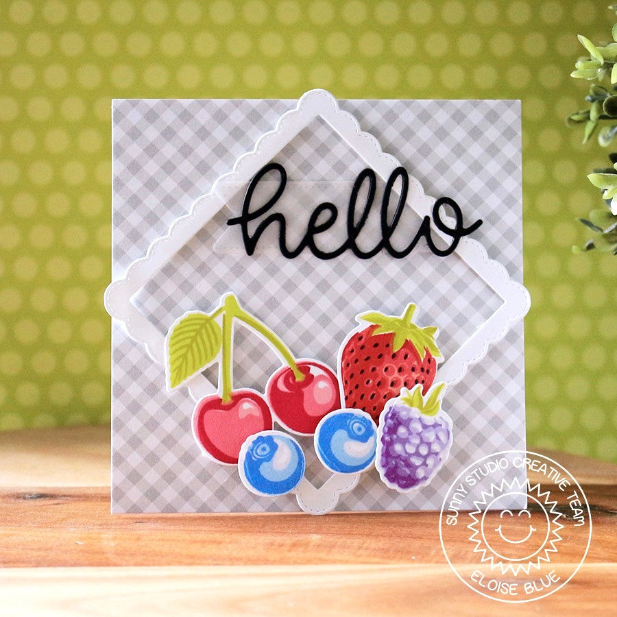 Sunny Studio Stamps Hello Fruit Themed Card with a frame on the diagonal using the Fancy Frames Square dies