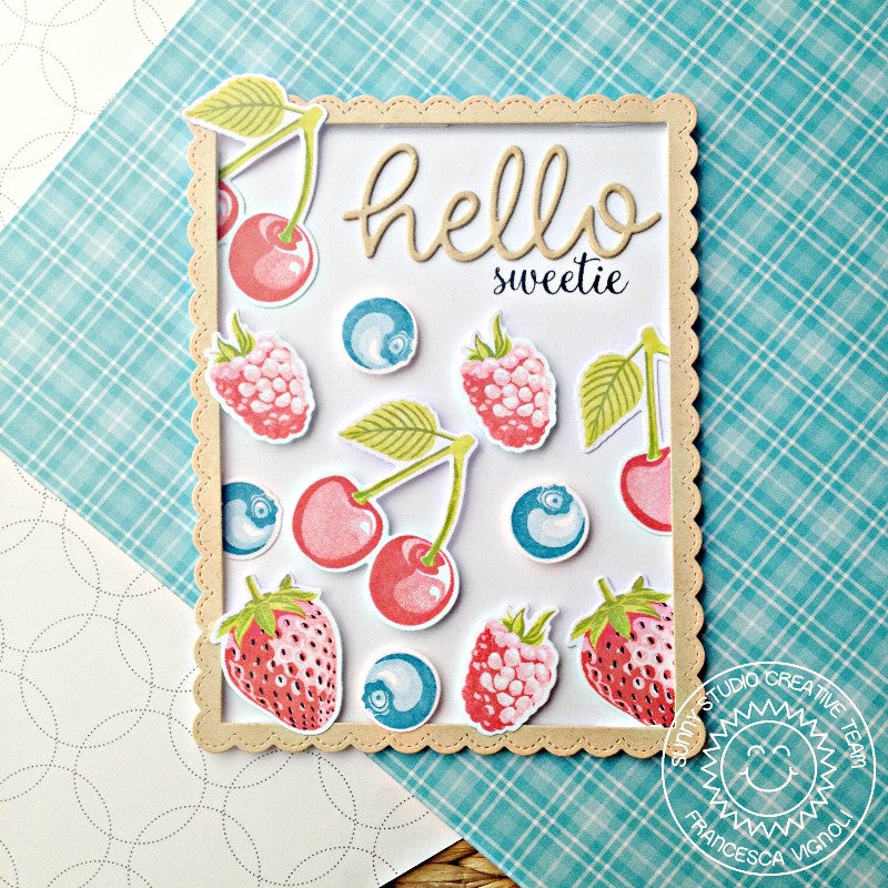 Sunny Studio Stamps Hello Sweetie Berry Themed Card by Franci (using script word die)