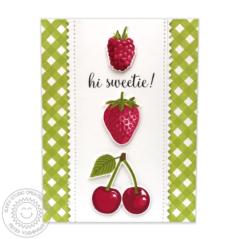 Sunny Studio Green Gingham Berries & Cherries Card using Background Basics Border Stamps