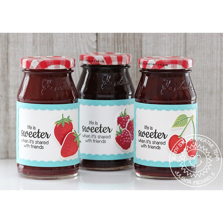 Sunny Studio Stamps Preserves Strawberry, Raspberry & Blackberry Jam Labels using fancy frames rectangle dies