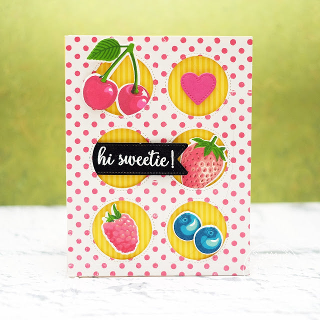 Sunny Studio Stamps Berry Bliss Grid Style Card using Window Trio Circle Dies