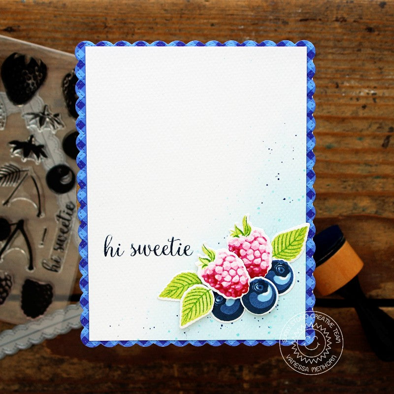 Sunny Studio Stamps Berry Bliss Card with Scalloped Card Base (using Fancy Frames stitched scalloped retangle dies)
