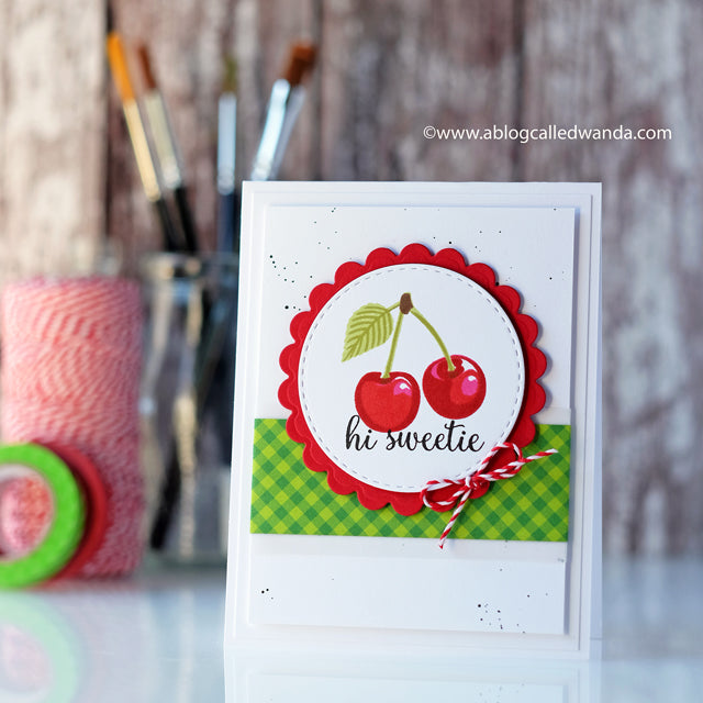 Sunny Studio Stamps Berry Bliss Red, Green & White Cherry Card by Wanda Guess