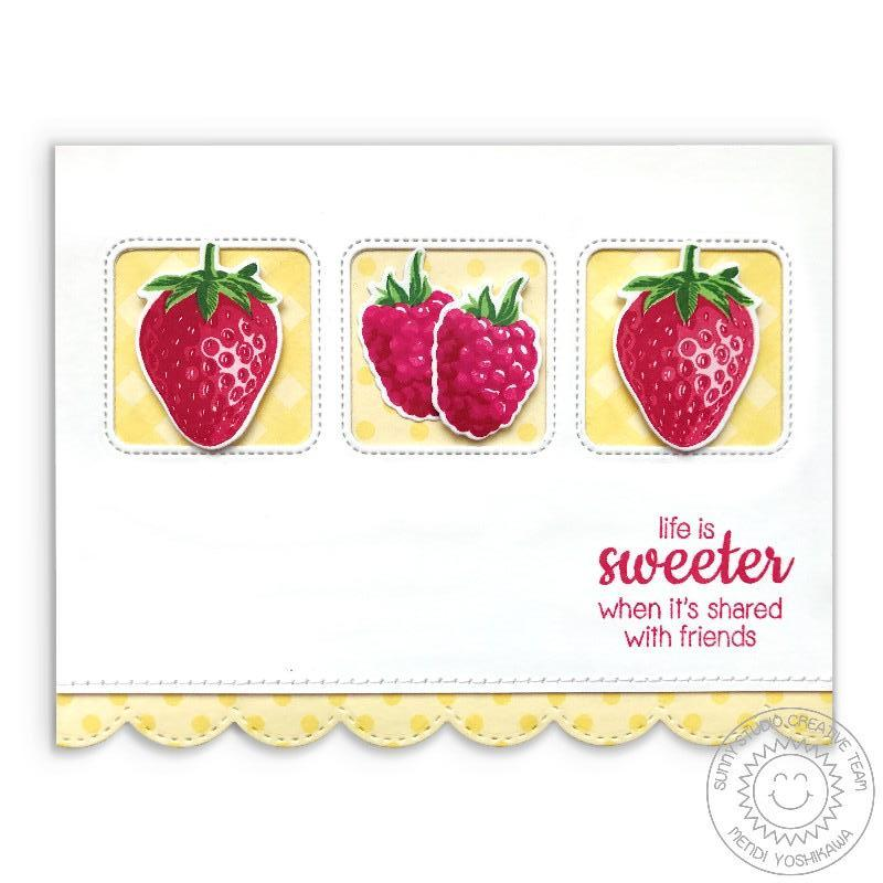 Sunny Studio Yellow Polka-dot & Gingham Berry Card using Background Basics Border Stamps