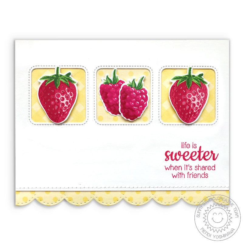 Sunny Studio Stamps Berry Bliss Sweeter Friend Yellow Gingham & Polka-dot Strawberry Card using Color Layering Stamps